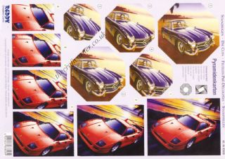 Sports Cars, Truck & Motorbike Designs Die Cut 3d Decoupage Sheet